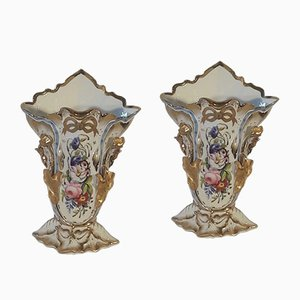 Antique French Porcelain Vases, Set of 2