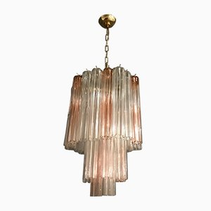 Pink Murano Glass Tube Chandelier by Paolo Venini, 1970s