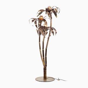 Lampada da terra vintage in ottone a forma di palma