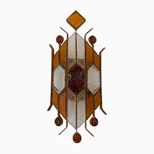 Italian Hammered Glass Sconce from Longobard, 1970s