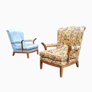 Mahogany and Floral Fabric Lounge Chairs by Paolo Buffa, 1950s, Set of 2