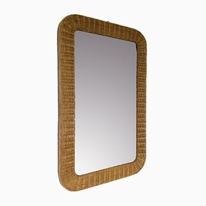 Vintage Bamboo and Rattan Mirror, 1970s