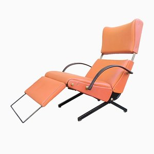 Orange Skai Adjustable Model P40 Lounge Chair by Osvaldo Borsani for Tecno, 1960s