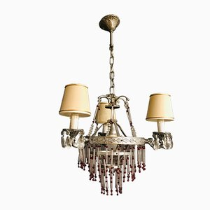 Vintage Murano Glass Rod Chandelier with Red Beads, 1960s