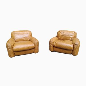 Brown Leather Model Piumotto Lounge Chairs by Arrigo Arrigoni for Busnelli, 1970s, Set of 2