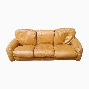 Brown Leather 2-Seater Model Piumotto Sofa by arrigo arrigoni for Busnelli, 1970s