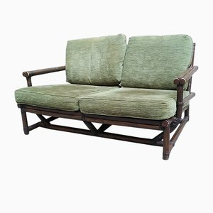 Bamboo and Green Fabric 2-Seater Sofa, 1970s