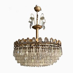 Large Vintage Crystal Chandelier, 1970s