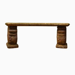 Vintage Weathered Stone Garden Bench with Oriental Draggon Supports