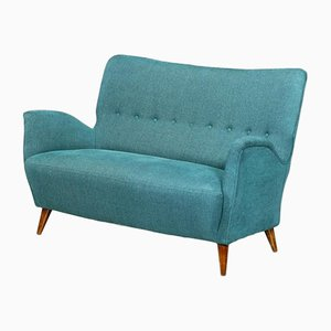Light Blue Sofa with Conical Legs from ISA Bergamo, 1950s