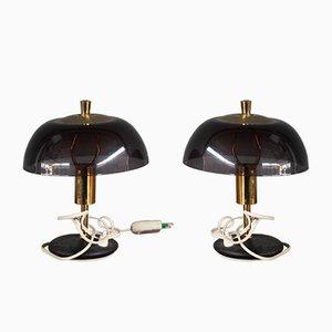 Italienische Mid-Century Tischlampen aus Plexiglas & Messing, 1960er, 2er Set