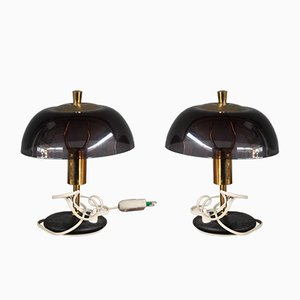 Mid-Century Italian Plexiglas and Brass Table Lamps, 1960s, Set of 2