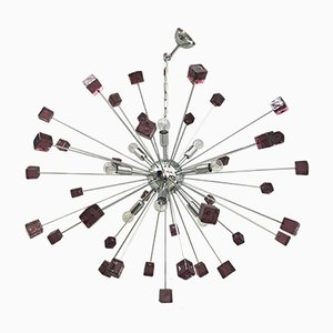 Sputnik Chandelier with Violet Murano Glass by Italian Light Design