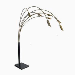Large Italian Brass Arc Floor Lamp, 1970s