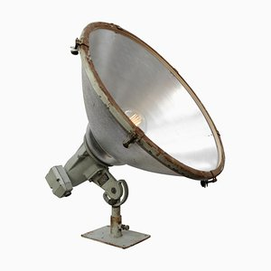 Industrielle Vintage Stehlampe aus grauem Metall und Klarglas