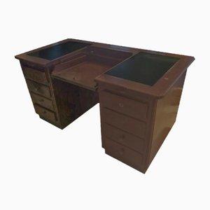 Schreibtisch aus Leder mit versteckten Schubladen, 1930er