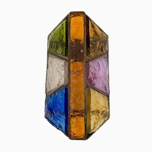 Italian Hammered Glass and Metal Sconce from Longobard, 1970s