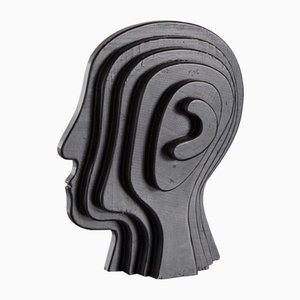 Vintage Abstract Wooden Head, 1970s