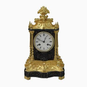 French Gothic Revival Bronze and Gilt Bronze Mantel Clock, 1880s