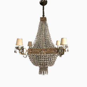 Large Vintage Crystal Chandelier, 1950s