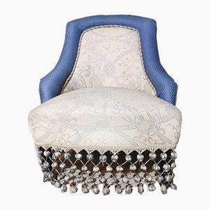 Italienische Mid-Century Damast Sessel in Blau & Weiß, 1950er, 2er Set
