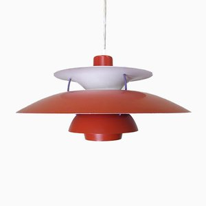 Danish Red Model PH5 Ceiling Lamp by Poul Henningsen for Louis Poulsen, 1980s