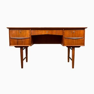 Danish Teak Double Sided Desk with Five Drawers, 1960s