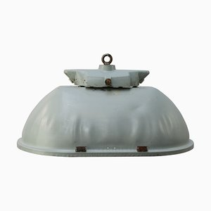 Vintage Industrial Oval Gray Green Pendant Lamp