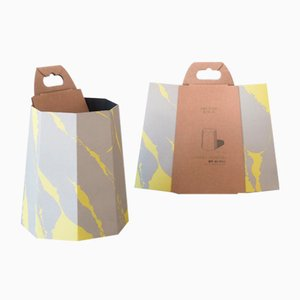 Chimney Paper Bin in Yellow and Grey by Andreason & Leibel for Swedish Ninja