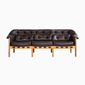 Mid-Century Sofa in Teak and Leather by Arne Norell