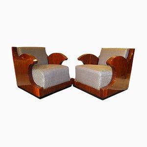 Art Deco Club Chairs in Walnut Veneer, Southern France, 1925, Set of 2