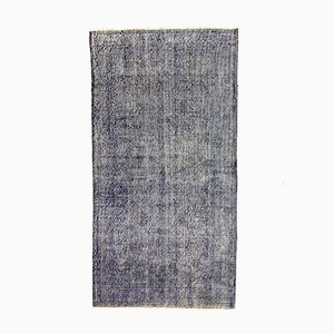Vintage Turkish Blue and Black Wool Distressed Overdyed Rug