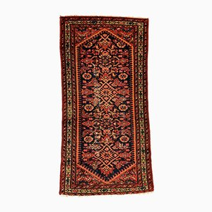 Vintage Hand-Knotted Red and Black Distressed Wool Tribal Rug