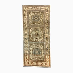 Turkish Blue and Beige Wool Distressed Tribal Rug, 1960s