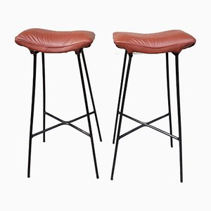 Mid-Century Leather Barstools by Ernest Race, Set of 2
