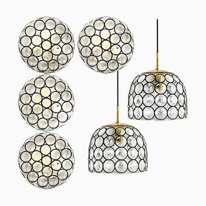 Circle Iron and Bubble Glass Sconces Light Fixtures by Glashütte Limburg, 1960s, Set of 6