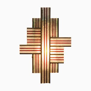 Wall Light Interlocking Lines in Art Glass and Bronze from Poliarte, 1960s