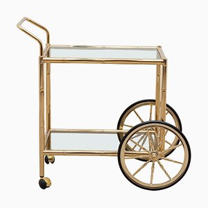 Hollywood Regency Faux Bamboo Two-Tiered Brass Bar Cart, Italy, 1970s