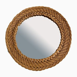 Round Mirror with a Rattan Border, 1970s