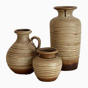 Vintage Boho Ceramic Vases by Scheurich, West Germany, 1970s, Set of 3