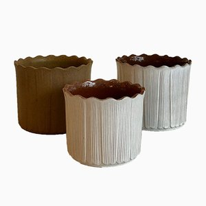 Vintage Ceramic Flower Pots, West Germany, 1970s, Set of 3