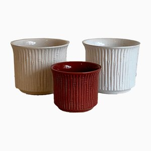 Vintage Flower Pots in Bamboo Style by Sondgen Ceramic, West Germany, 1970s, Set of 3