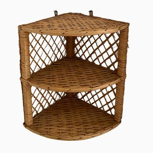Rattan and Bamboo Corner Shelf, 1970s
