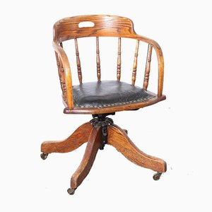 Antique Wooden Office Chair on Wheels