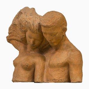 Skulptur aus Terrakotta von David Wretling, 1940er