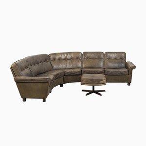 Danish Buffalo Leather Corner Sofa from Madsen & Schubell, 1960s