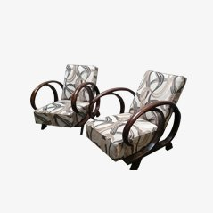 Art Deco Adjustable Lounge Chairs, Set of 2