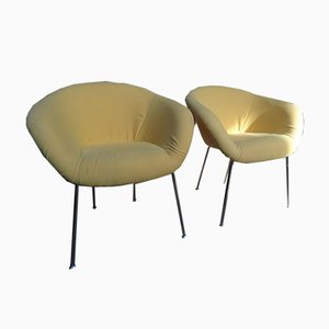 Vintage Yellow Fabric Chairs by Herman Miller, Set of 2