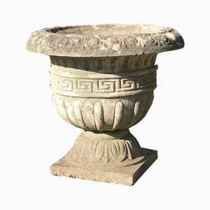 Stone Composite Planters with Greek Style Pattern Detail, Set of 2
