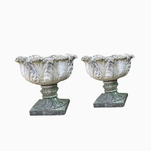 Composite Stone Planters with Leaf Detail, Set of 2